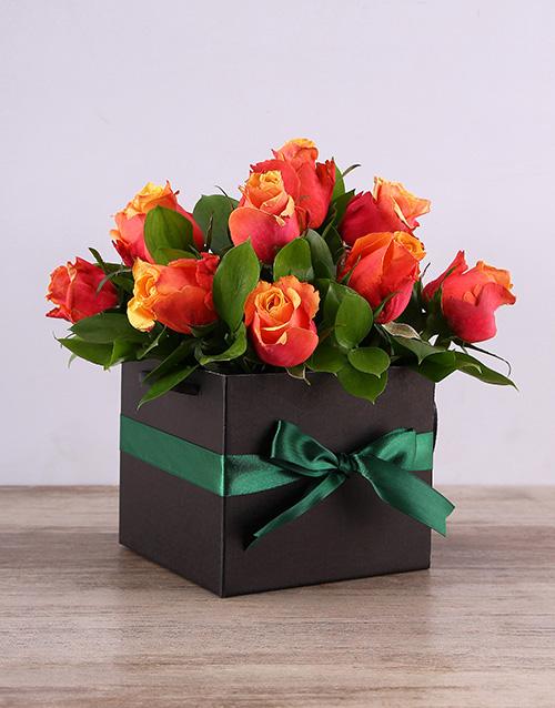 roses Cherry Brandy Roses in a Black Box