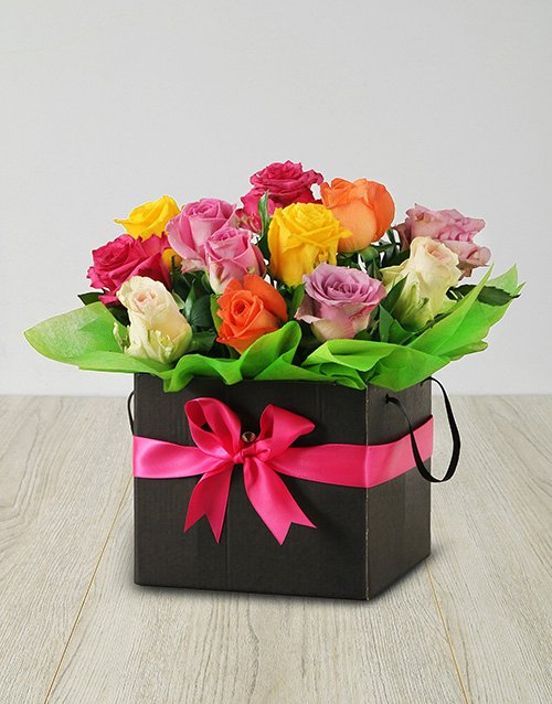 birthday Mixed Roses in a Black Box