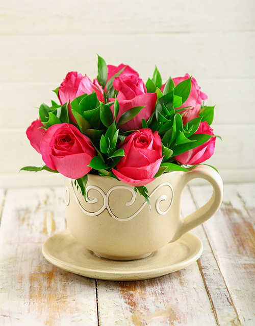 roses Cerise Roses in a Teacup