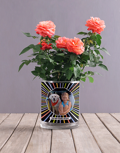 roses Personalised Orange Rose Photo Vase