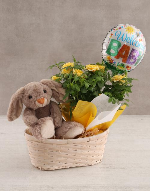 baby Teddy Rabbit and Yellow Rose Bush
