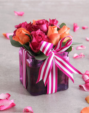 roses Cerise Rose and Ribbon in a Square Vase
