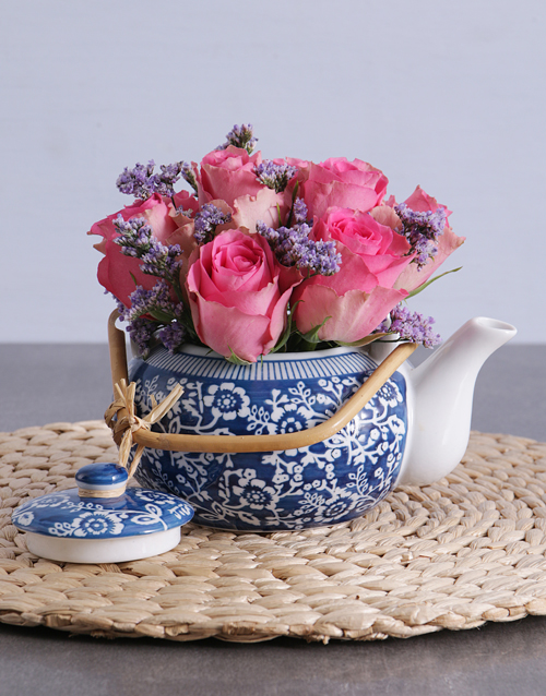 roses Pink Roses in a Delft Teapot