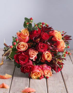 roses Cherry Brandy and Red Roses with Safari Bouquet