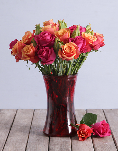roses Cherry Brandy and Cerise Roses in a Vase