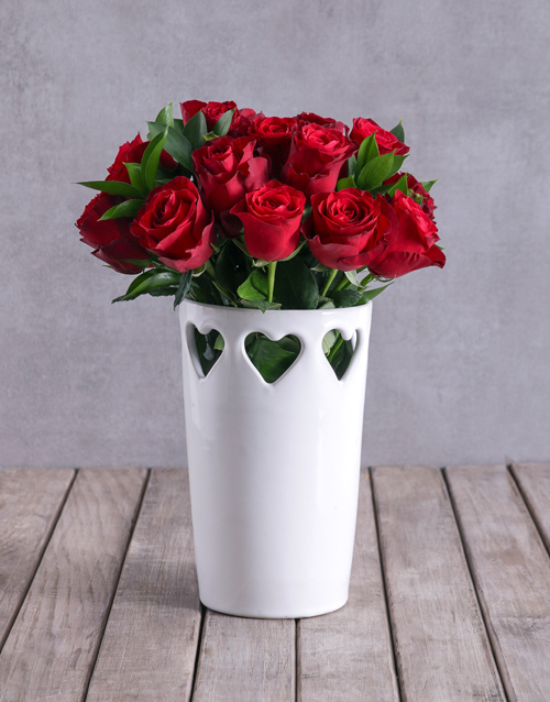 roses Red Roses In Ceramic Cut Out Hearts Vase