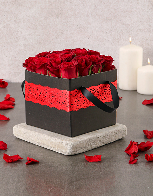 roses Red Laced Rose Box
