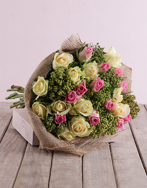 roses Pink and Cream Rose Bouquet in Hessian