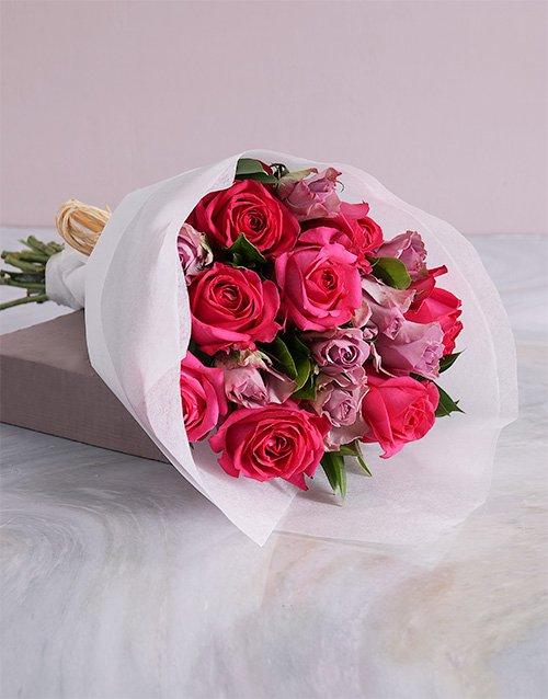 roses Elegant Mixed Roses In White Craft Paper
