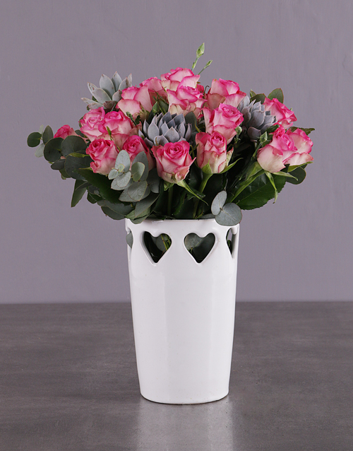 roses Pink Roses in a Love Vase