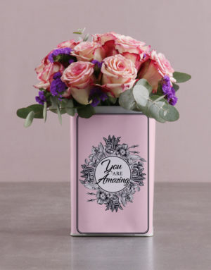 roses Pink Roses in a Unique Tin