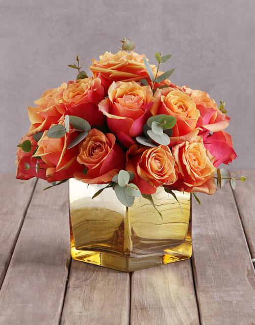 roses Cherry Brandy Roses In Gold Vase