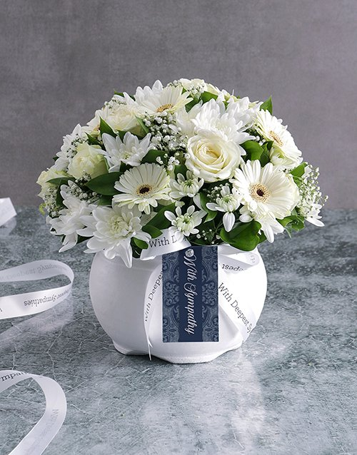 sympathy White Rose And Daisy Sympathy Pot