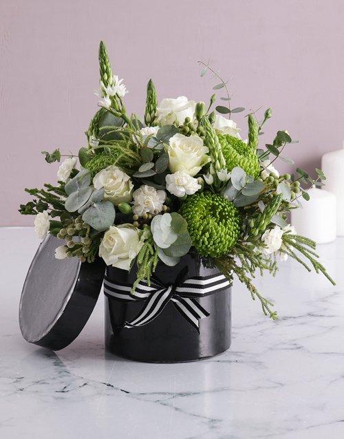 sympathy White Mixed Flower Hat Box