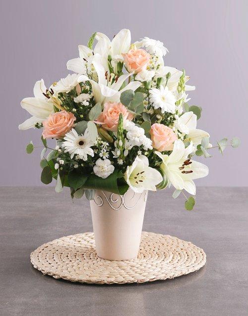 sympathy Elegant Cream Flower Arrangement