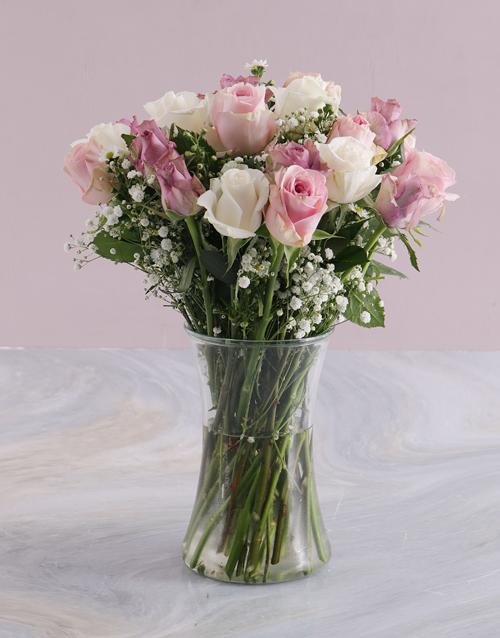 roses Pale Pastel Mixed Rose Arrangement