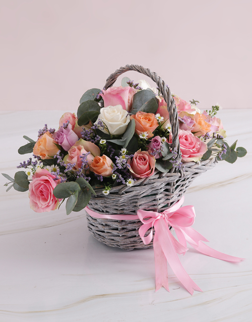 roses Radiant Roses Willow Basket