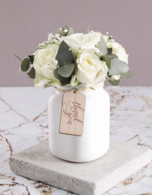 roses Thank You Consol Jar of White Roses