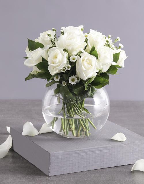 roses Celestial White Roses in Fish Bowl Vase