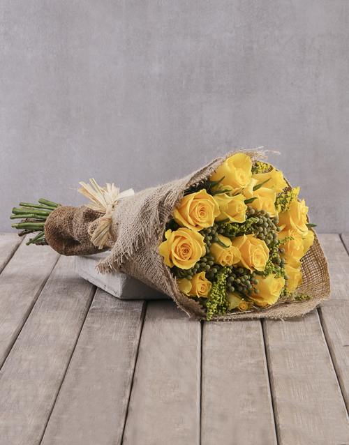roses Cheerful Yellow Rose Bouquet