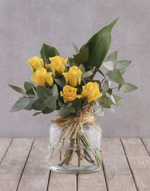 roses Yellow Rose and Greenery Arrangement