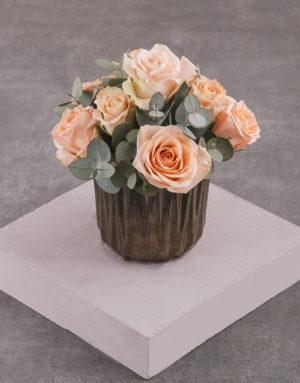 roses Peach Roses in Bronze Vase