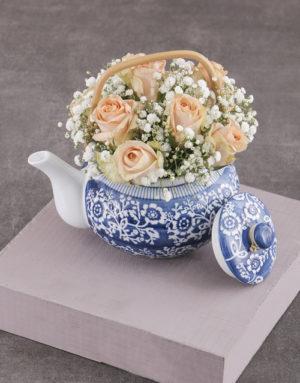 roses Peach Roses in Delft Teapot