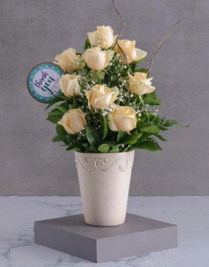 Cream Roses Of Gratitude