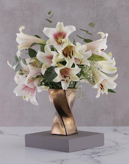 sympathy St Joseph Lilies in Twisty Bronze Vase