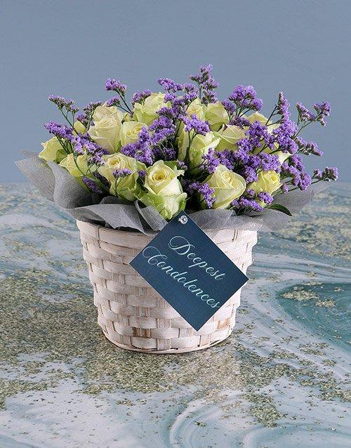 sympathy White Sympathy Roses In Basket