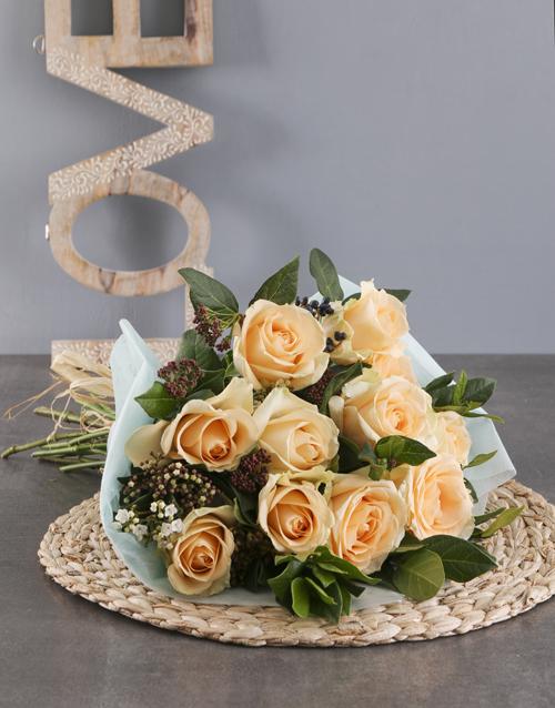 roses Peach Roses In Aqua Wrapping