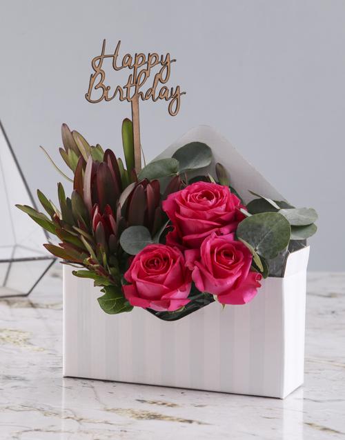 roses Happy Birthday Cerise Rose Blossoms
