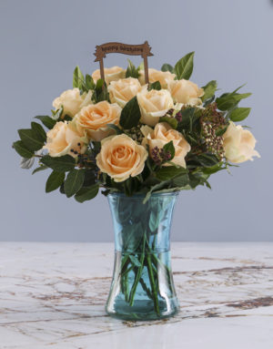 roses Happy Birthday Peach Roses In Blue Cylinder Vase