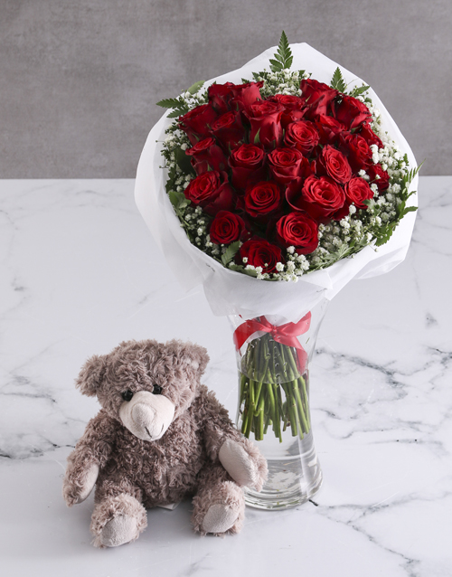 roses Divine Red Roses With Teddy Bear