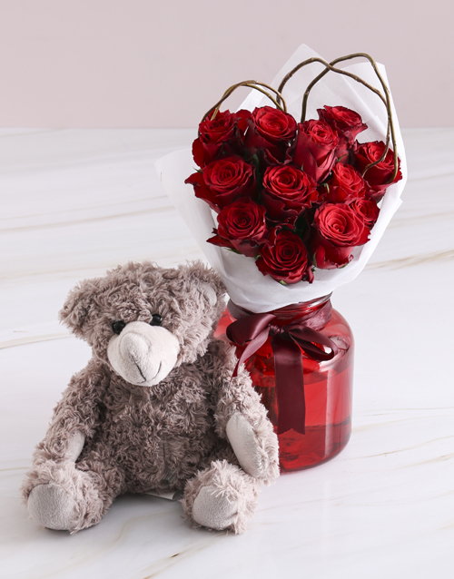 roses Radiant Red Roses With Brown Teddy Bear