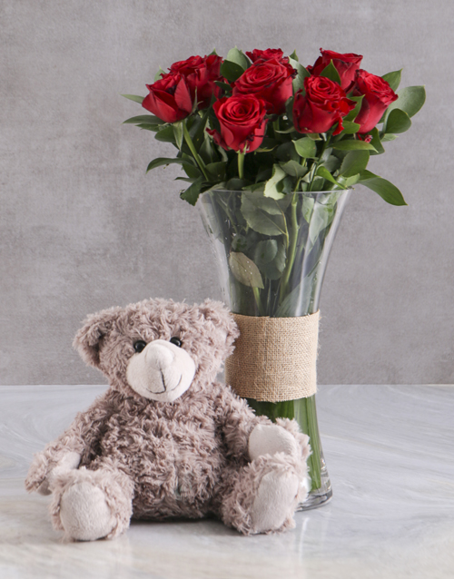 roses Love Grow Red Roses With Brown Teddy Bear