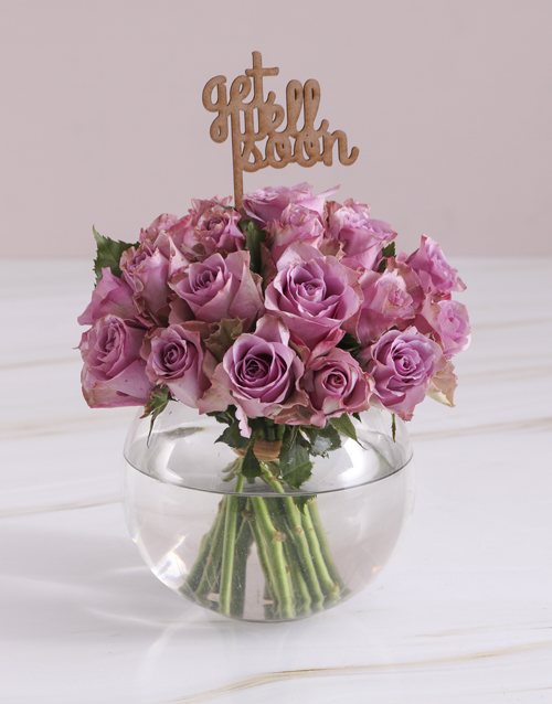 roses Get Well Soon Lilac Roses In Fish Bowl