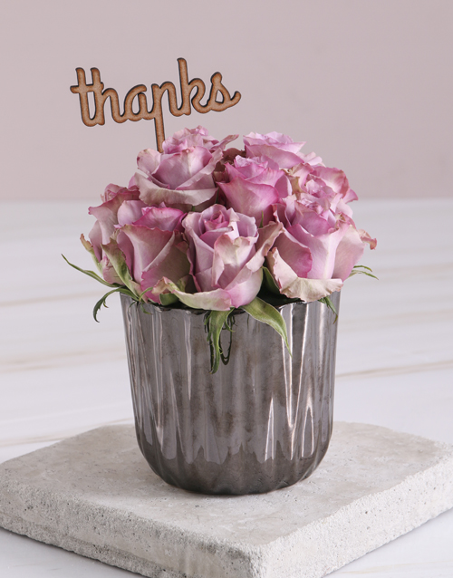 roses Thank You Lilac Roses In Bronze Vase