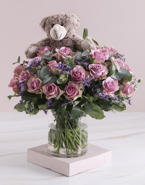 roses Lilac Rose Combo In Clear Vase