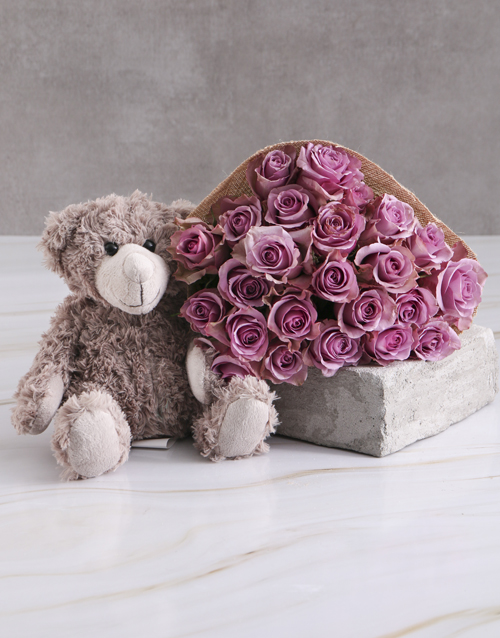 roses Lilac Roses With Teddy Bear
