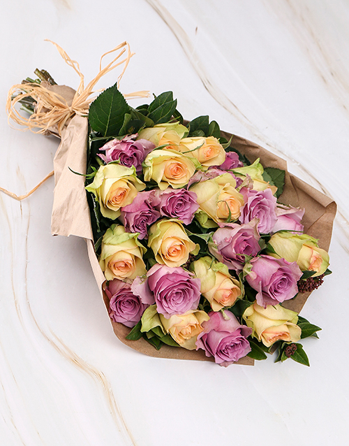 roses Vintage Mixed Roses in Brown Paper Wrapping