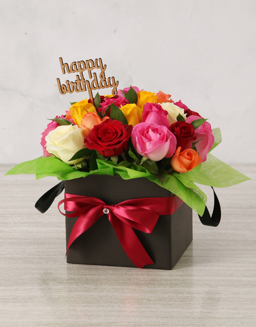 roses Bright Birthday Mixed Rose Box