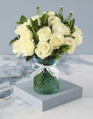 roses Whimsical White Roses In Diamond Vase