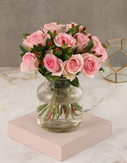 roses Pink Rose Vase Arrangement