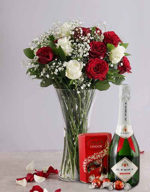 roses White and Red Rose Regal Gift