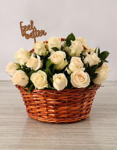 roses Get Well Cream Roses Basket