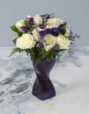 roses Purple Pleasures White Rose Arrangement