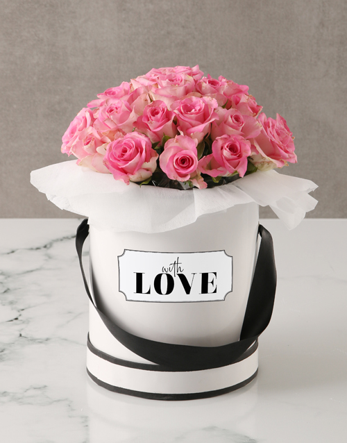 roses Pink Roses in Love Hatbox