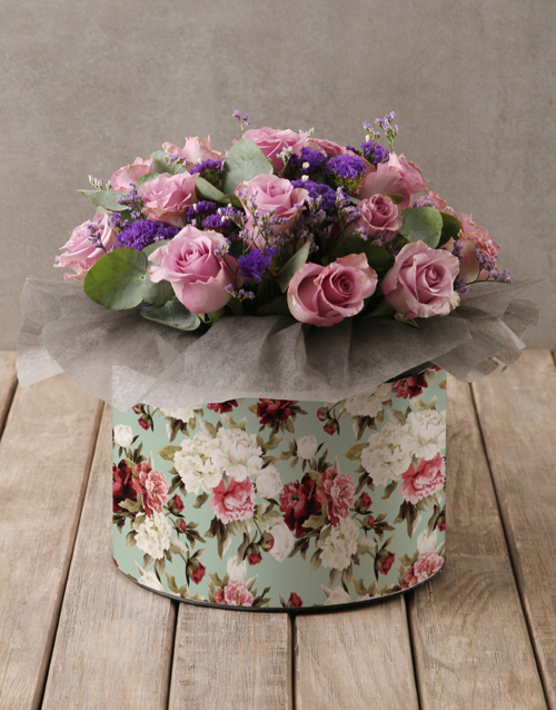roses Lilac Roses in Floral Hatbox