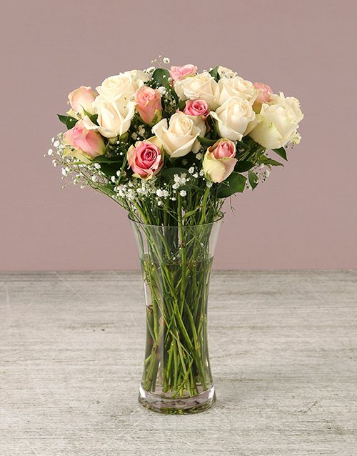 baby Delicate Shades of Mixed Pastel Roses in Vase